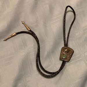 SIGNED HANDMADE STERLING VINTAGE BOLO TIE
